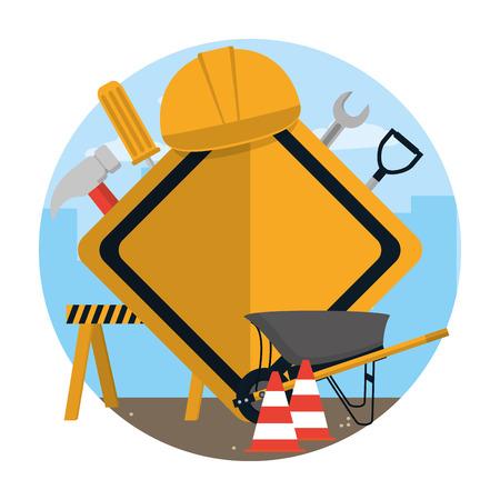 Bau-Roadsign mit Werkzeugen und Elementen Konzept-Vektor-Illustration-Grafik-Design Vektorgrafik
