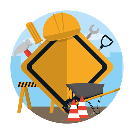 Construction roadsign with tools and elements concept vector illustration graphic design Illusztráció