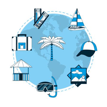 Set of travel around world icons vector illustration graphic design Illustration