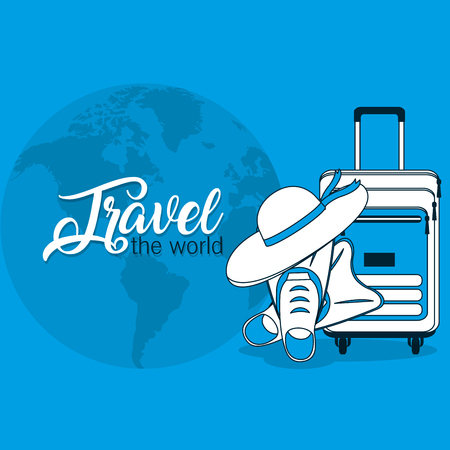 Travel the world with hat luggage and diving fins vector illustration graphic design Иллюстрация