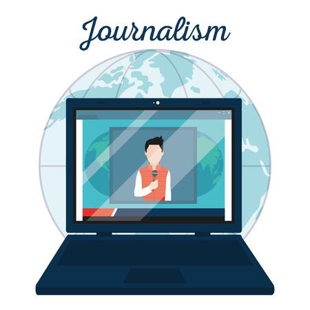 Journalist on digital news in laptop screen vector illustration graphic design Illustration
