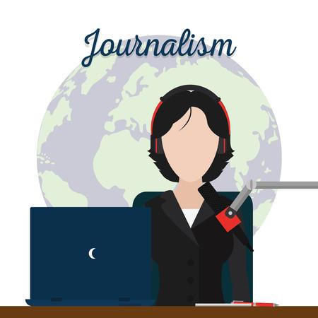 Journalist with microphone around the world vector illustration graphic design