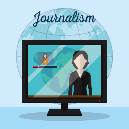 Journalist presenting digital news on screen vector illustration graphic design