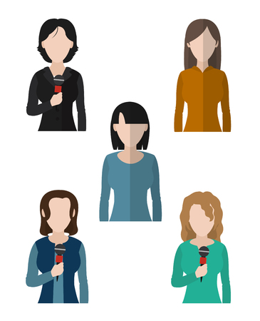 Set of journalist womens avatars cartoons vector illustration graphic design Иллюстрация