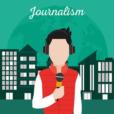 Journalist transmitting live at city vector illustration graphic design