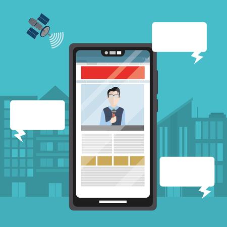 Digital news from smartphone cartoons vector illustration graphic design