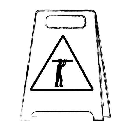 grunge plastic caution emblem and laborer with equipment vector illustration