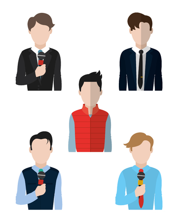 Set of journalist avatars cartoons vector illustration graphic design Illustration