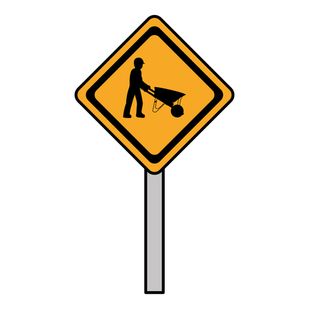 color diamond caution emblem and laborer with wheelbarrow vector illustration Vectores