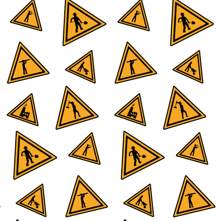 color triangle caution emblem to industry maintenance background vector illustration Illustration