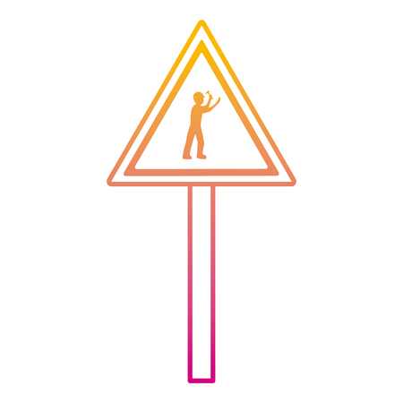 degraded line triangle caution emblem and laborer with hammer vector illustration Vectores