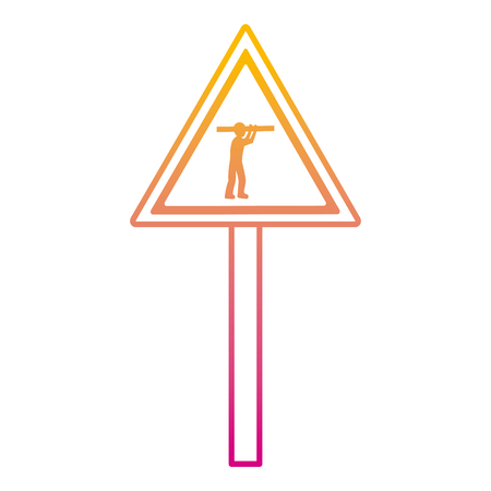 degraded line triangle caution emblem and laborer with equipment vector illustration