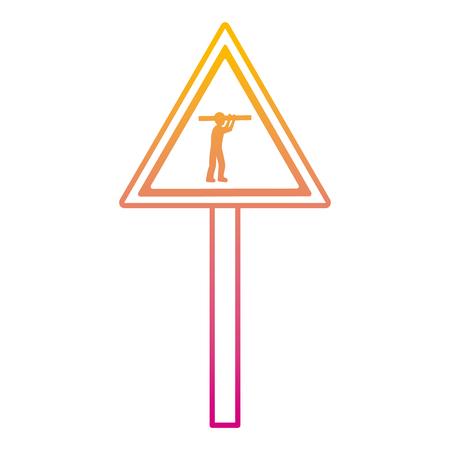 Emblema de precaución triángulo de línea degradada y trabajador con ilustración de vector de equipo Ilustración de vector
