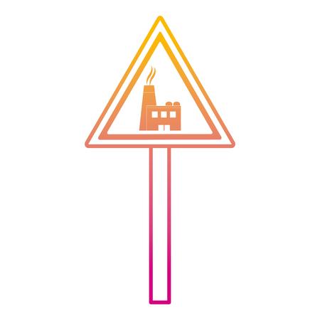 degraded line triangle caution emblem factory pollution vector illustration