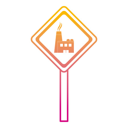 degraded line diamond caution emblem factory pollution vector illustration
