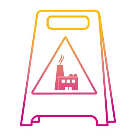 degraded line plastic caution emblem factory pollution vector illustration