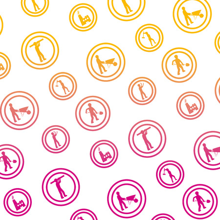 degraded line circle caution emblem to industry maintenance background vector illustration Illustration