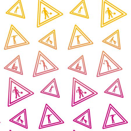 degraded line triangle caution emblem to industry maintenance background vector illustration Illustration
