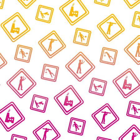 degraded line diamond caution emblem to industry maintenance background vector illustration