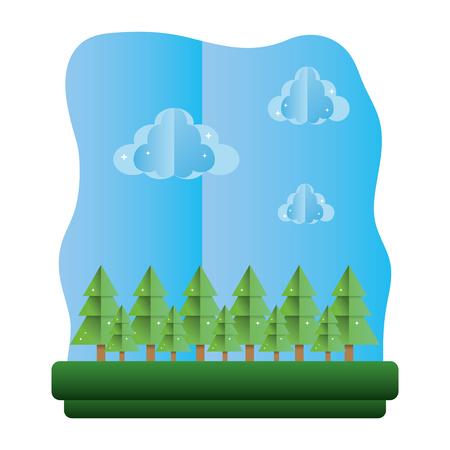 exotic trees ecology preserve landscape vector illustration