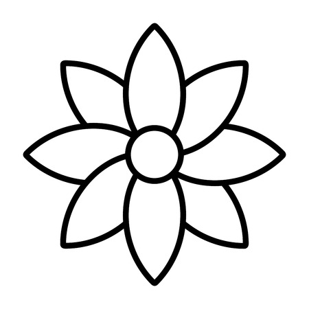 line beauty flower with natural petals style vector illustration Vettoriali