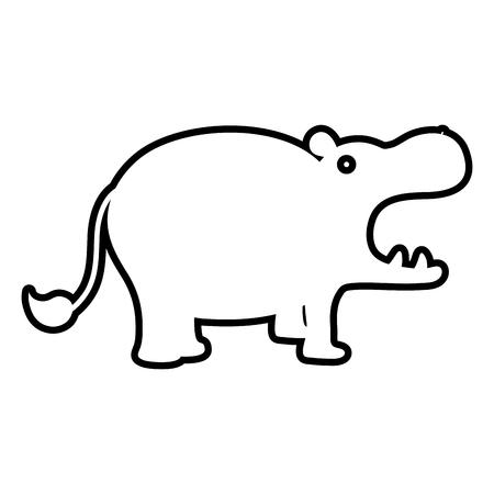 라인 귀여운 하마 사파리 야생 동물 벡터 일러스트 레이 션