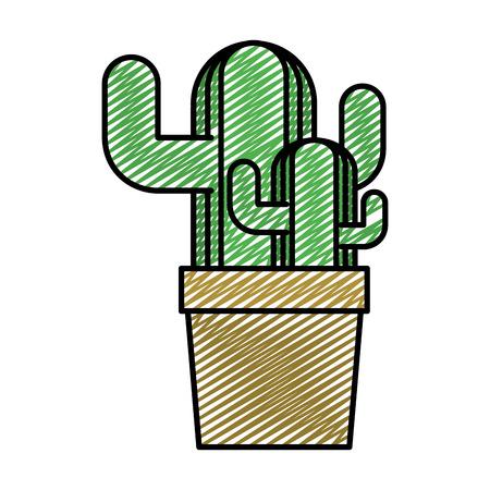 doodle ecology plants conservation inside flowerpot style vector illustration