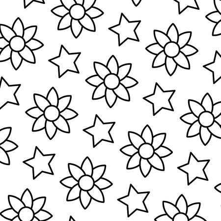 Línea flor exótica con ilustración de vector de fondo estrella brillante
