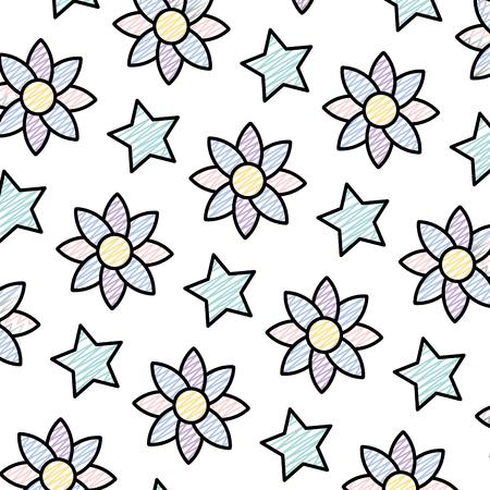 Doodle flor exótica con ilustración de vector de fondo estrella brillante