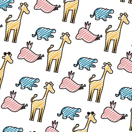 doodle silhouette wild animal safari background vector illustration