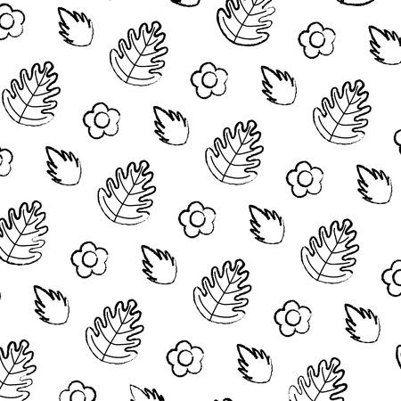 grunge tropical leaf and exotic flower background vector illustration Illustration