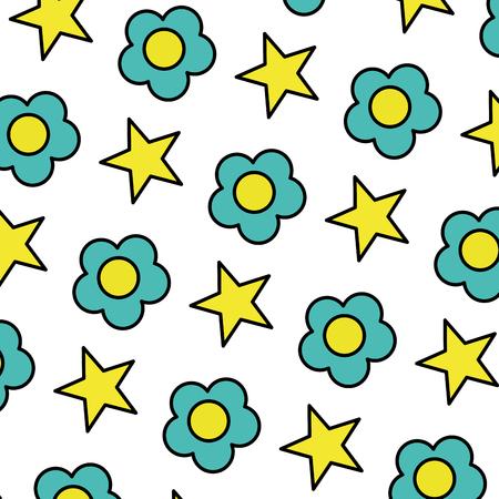 Flor de belleza de color con ilustración de vector de fondo estrella brillante