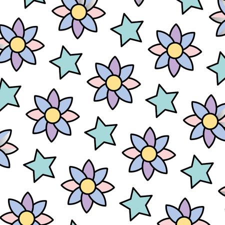 Flor exótica de color con ilustración de vector de fondo estrella brillante Ilustración de vector