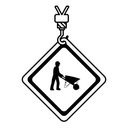 line caution diamond emblem with laborer and wheelbarrow vector illustration Vectores