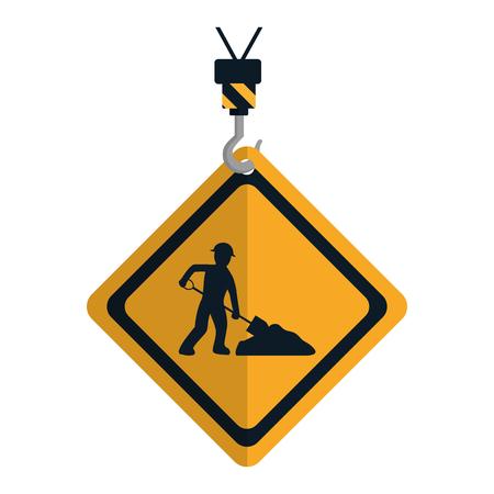 caution diamond emblem with laborer and shovel vector illustration