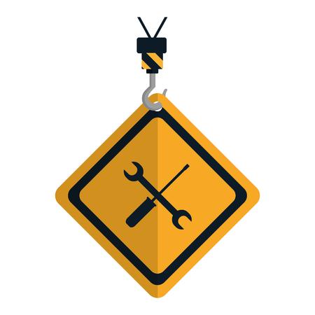 caution diamond emblem with mechanic equipment vector illustration