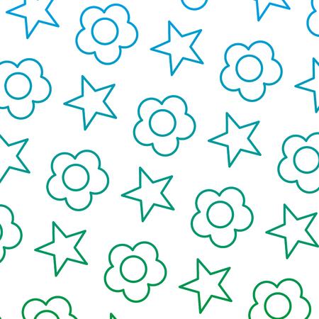 Flor de belleza de línea degradada con ilustración de vector de fondo de estrella brillante