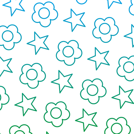 degraded line beauty flower with bright star background vector illustration