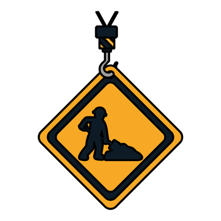 color caution diamond emblem with laborer and shovel vector illustration Vectores