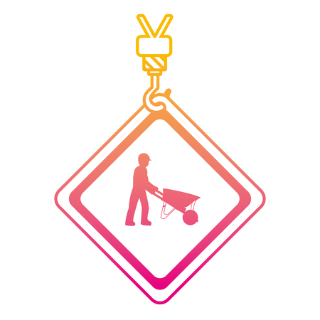 degraded line caution diamond emblem with laborer and wheelbarrow vector illustration