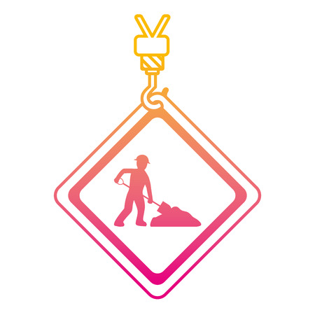 degraded line caution diamond emblem with laborer and shovel vector illustration