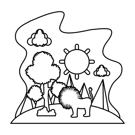 line sun with tree and male lion in the landscape vector illusration Illustration