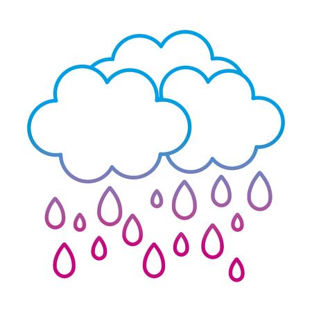 degraded line nature fluffy cloud raining weather vector illustration