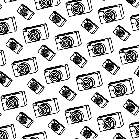 line professional digital camera technology background vector illustration