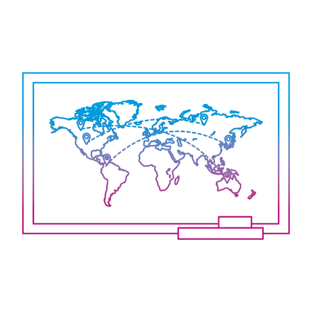 degraded line global map with locations symbols destinations vector illustration Ilustração
