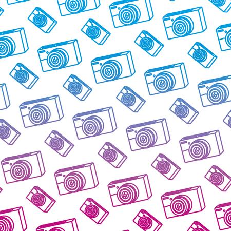 degraded line professional digital camera technology background vector illustration