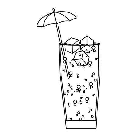 line delicious cold beverage glass with umbrella vector illustration