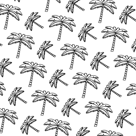 line tropical palm nature tree background vector illustration