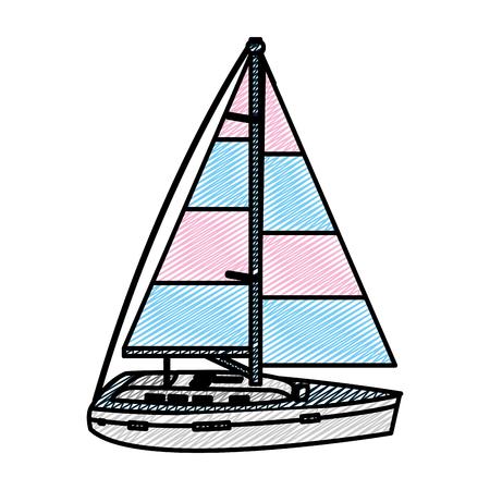doodle sailing boat style transport sea vector illustration
