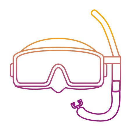 Degradierte Linie Tauchmasken-Stil Unterwasserausrüstung Vektor-Illustration